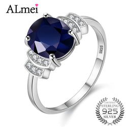 Almei 2.5ct Dark Blue Spinel Rhinestone Wedding Engagement Rings 925 Sterling Silver Statement Ring Jewelry with Box 20% CJ008
