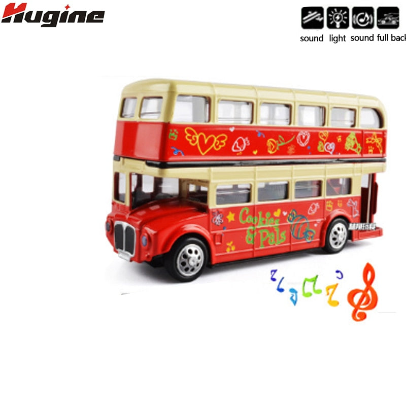 Toys Model Simulation Bus London City Double-Decker Sightseeing Bus Alloy Model Full Back 1:32 Display Boutique Children Toys