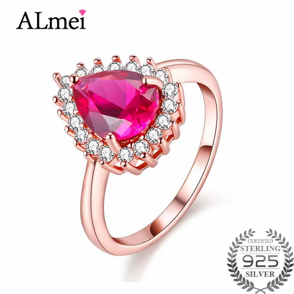 Almei 1ct Pink Topaz Wedding Rings Silver 925 Rose Gold Color Costume Jewelry for Women Anel Feminino with Gift Box 40% FJ016