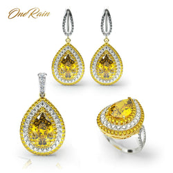 OneRain Luxury 100% 925 Sterling Silver Sets Water Drop Pear Citrine Gemstone  Necklace/Earrings/Ring Jewelry Sets Wholesale