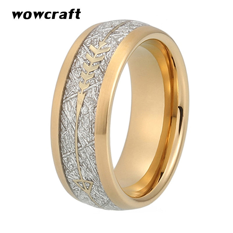8mm New Cool Gold Mens Tungsten Carbide Ring Womens Wedding Band Silver Meteorite Gold Arrow Inlay Comfort Fit