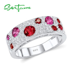 SANTUZZA Silver Ring for Women Created-Rubies White AAA Cubic Zirconia Stone Rings Pure 925 Sterling Silver Fashion Jewelry