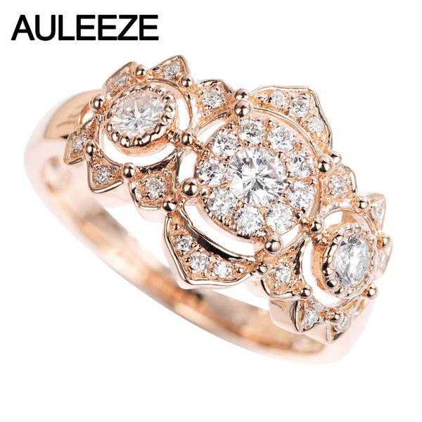 AULEEZE 18K Rose Gold Real Diamond Vintage Party Ring for Women Natural Diamond Wedding Jewelry