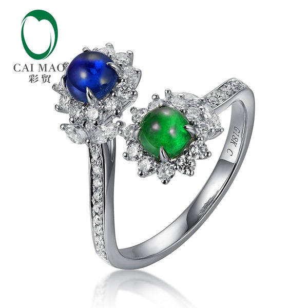 CAIMAO Natural Cabochon Cut Emerald and Sapphire Halo H SI Brilliant Diamonds Engagement Wedding Ring for Annivesary Finegems