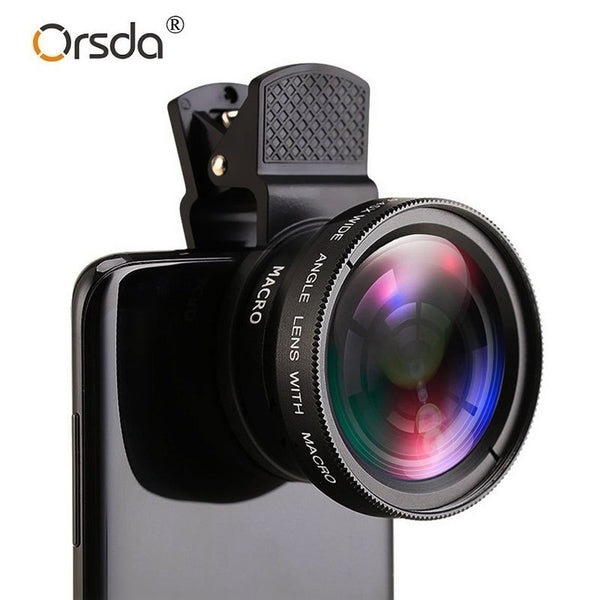 Professional HD Phone Camera Lens 0.45X 49UV Super Wide Angle 12.5X Macro Lens Universal Clip 2 In 1 Kit for iPhone Smartphones