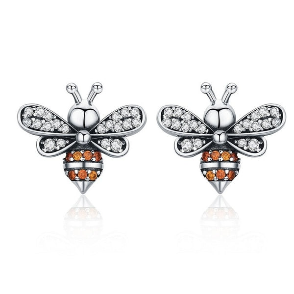 Baby Bee Stud Earrings for Women Fashion Crystal Ear Studs 925 Sterling Silver Jewelry for Girl Anti-allergy SCE344