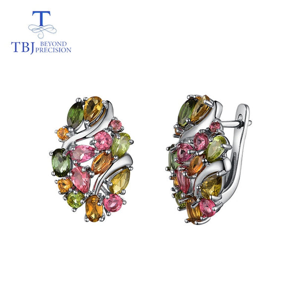 TBJ,Natural Brazil tourmaline clasp earring 925 sterling silver fine jewelry for women wife luxury design anniversary party gift