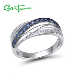 SANTUZZA Silver Rings For Women Pure 925 Sterling Silver Blue White Cubic Zirconia Wedding Engagement Rings Fashion Chic Jewelry
