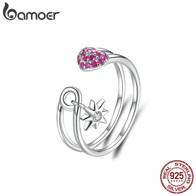 Heart Pin Open Ring for Women 925 Sterling Silver Full Pave CZ Star Adjustble Ring Female Korean Accessories BSR038