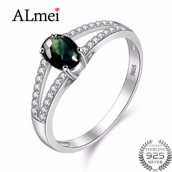 Almei Sapphire Dark Blue Beads Wedding Rings 925 Sterling Silver Diamond Fine Jewelry for Women Anillos De Plata 925 CJ038