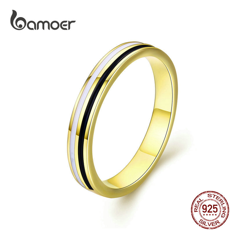 Golden Engagement Ring for Authentic 925 Sterling Silver Enamel Wide Finger Rings for Fashion Jewelry Mens Gifts SCR523