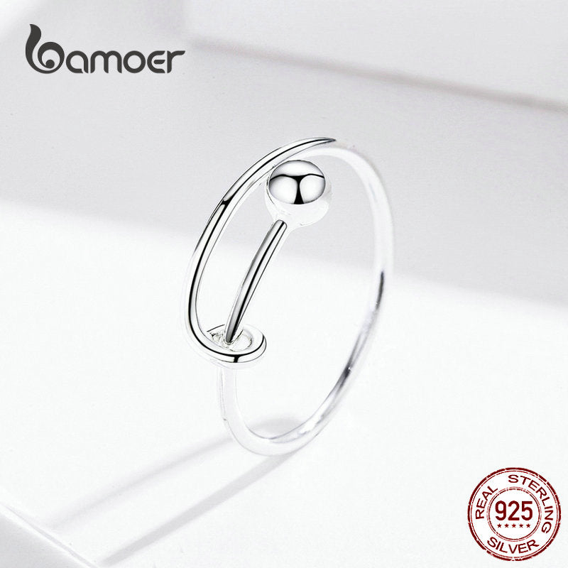 925 Sterling Silver Rings Round Bead Minimalist Finger Ring for Size 6 7 8 Fine Jewelry SCR520