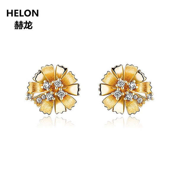 Natural Diamonds Stud Earrings Solid 14k Yellow Gold Women Earrings Flower Fine Jewelry