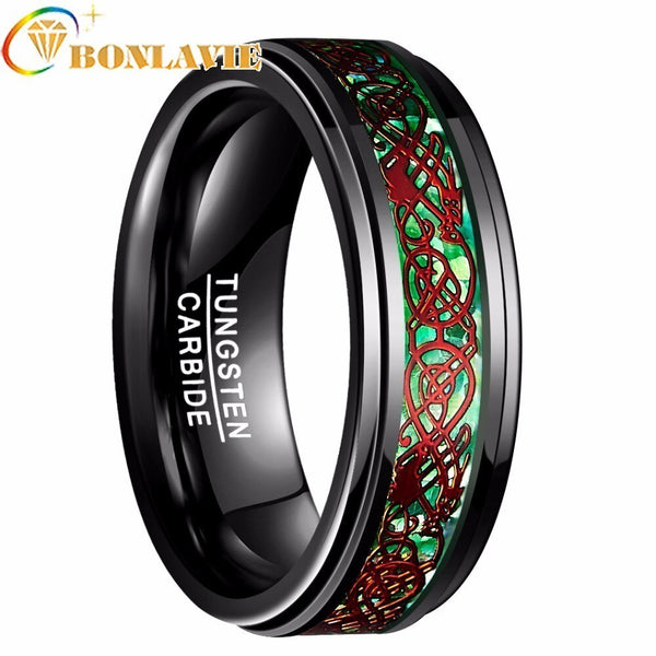 2018 Trendy 8mm Tungsten Ring Men Bague Inlay Polished Finish Edge Engagement Wedding Band Fashion Jewelry Rings