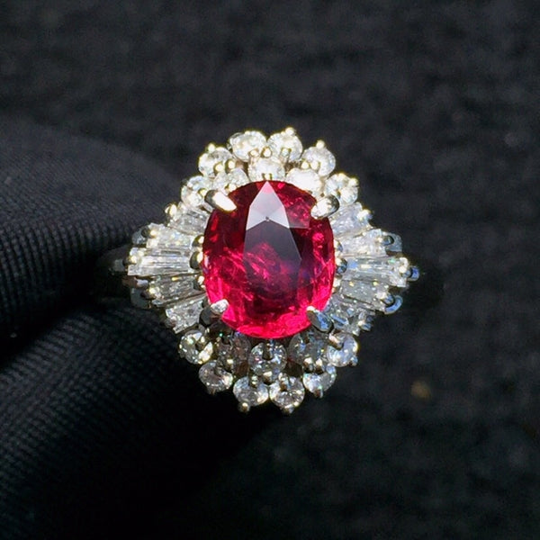Fine Jewelry Pure 18 K White Gold Real 100% Natural Red Ruby 1.37ct Diamonds Jewelry Female's Rings for Women Fine Ring