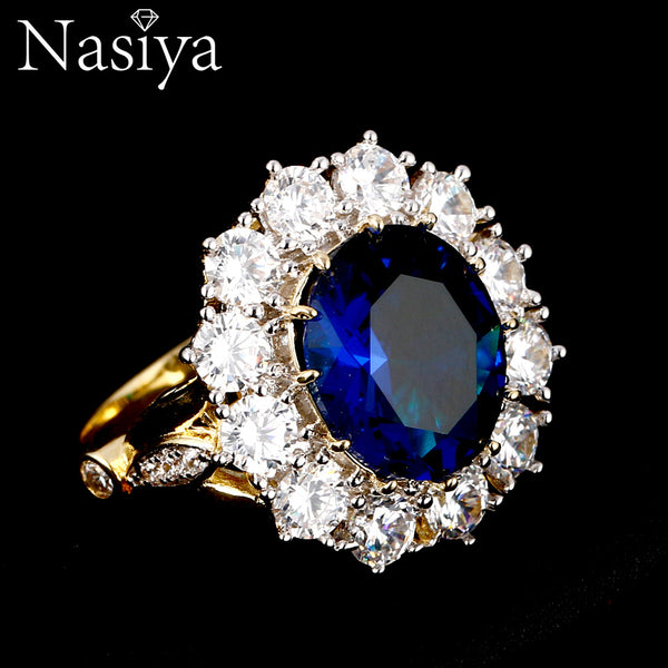 New Design Romantic Luxury Ring Golden Color With 13x18MM Big Oval Sapphire Gemstones Fashion Fine Jewelry Wholesale