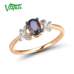 VISTOSO Pure 14K 585 Rose Gold shining Diamond Fancy Blue Sapphire Ring For Women Wedding Engagement Elegant Luxury Fine Jewelry