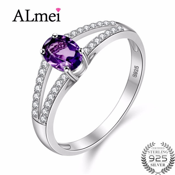Almei 925 Sterling Silver Natural Amethyst Stone Anniversary Ring 2 Row Engagement Rings Fine Jewelry for Women with Box CJ037