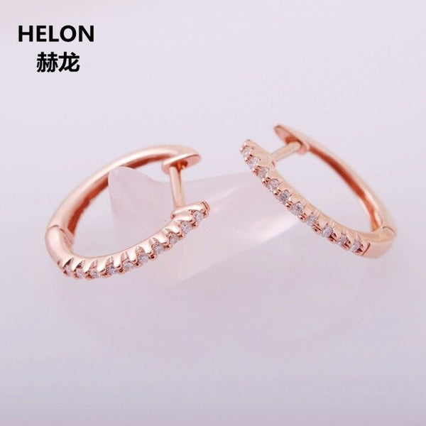 0.1ct SI/H Natural Diamonds Hoop Earrings for Women Solid 14k Rose Gold Engagement Wedding Anniversary Earrings Fine Jewelry