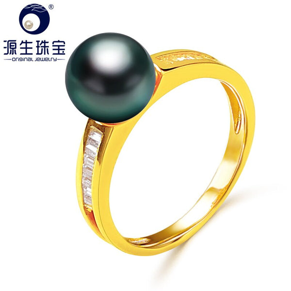 [YS] 14k Pearl Wedding Jewelry Ring 8-9mm Black Tahitian Pearl Ring For Women
