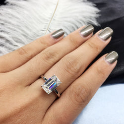 AEAWLuxury 3carat Moissanite Ring Solid 18K White Gold Engagement Ring Emerald Cut Lab Grown Diamond Wedding Ring For Women