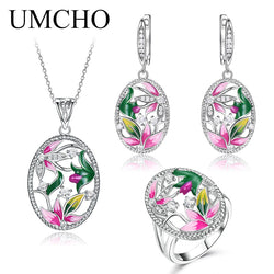 UMCHO Jewelry Set Colorful Flowers CZ Stone Ring Earrings Pendant 925 Sterling Silver Ladies Jewelry Set Handmade  Enamel