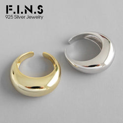 F.I.N.S 925 Silver Big Rings for Women Arc-Shaped Female Finger Ring Personality Sterling Silver Open Engagement Ring 2020