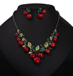 Hot Sale Red Cherry Necklace Earrings Set Jewelry Dinner Dress Bride Accessories