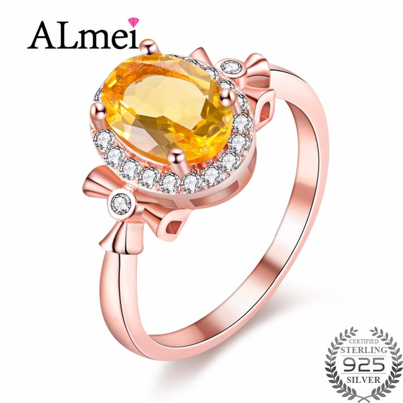 Almei 1.5ct Oval Natural Citrine Birthstone Solitaire Rings Genuine 925 Sterling Silver New Fine Jewelry with Box 40% FJ108