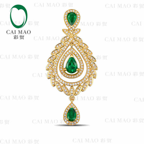 CaiMao Natural 2.12 ct Emerald 18KT/750 Yellow Gold 0.75 ct Full Cut Diamond Jewelry Pendant Gemstone