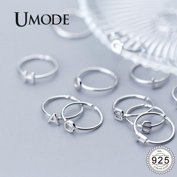UMODE 925 Sterling Silver Rings for Women Letter s925 Silver Open Adjustable Rings New Fashion 2019 Simple Jewelry ULR0737