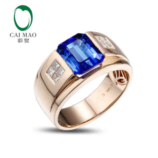 CaiMao 18KT/750 Rose Gold 3.5 ct Natural IF Blue Tanzanite AAA  0.32 ct Full Cut Diamond Engagement Gemstone Ring Jewelry