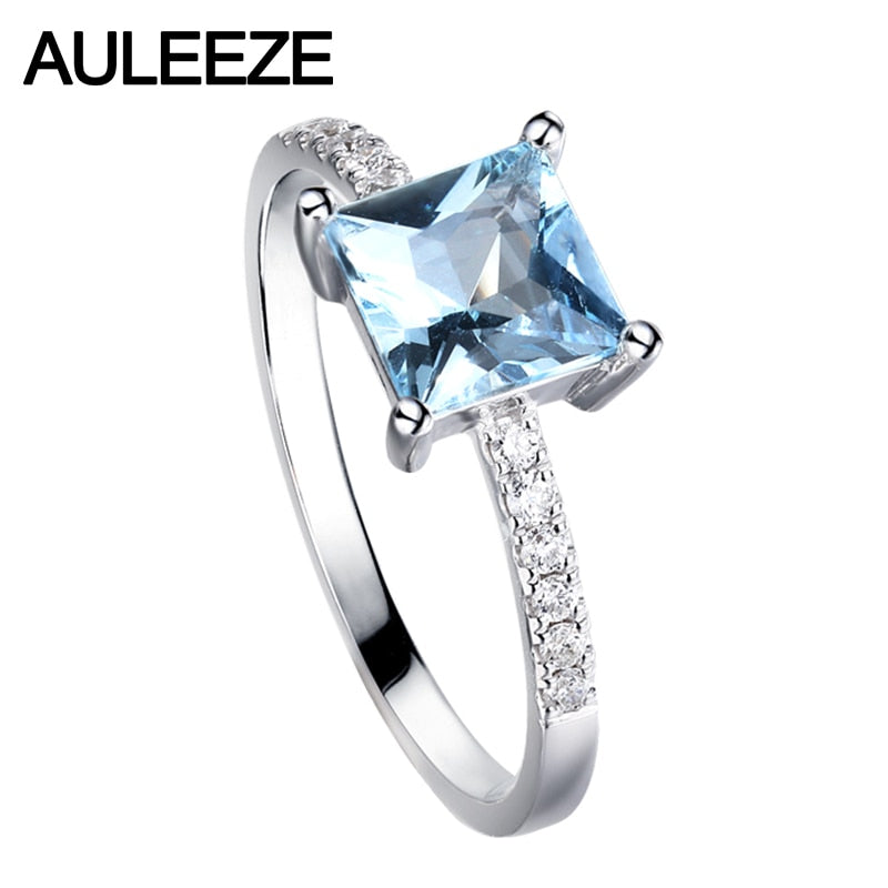 AULEEZE Princess Cut 1.5CT Natural Aquamarine Annicersary Ring Real Diamond 18K White Gold Wedding Band Gemstone Jewelry