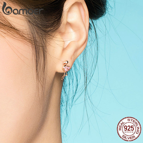 Summer Flamingos Stud Earrings for Women Pink Cubic Zirconia Ear Studs Romantic Female Silver 925 Jewelry Gifts BSE120
