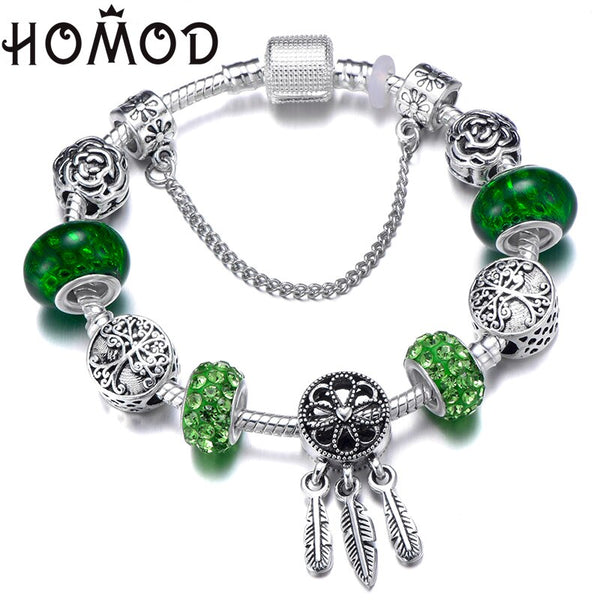 Dropshipping Green Tree of Life Charm Brand Bracelet Silver Color Dreamcatcher Bead Bracelets & Bangles Fashion Jewelry Gifts