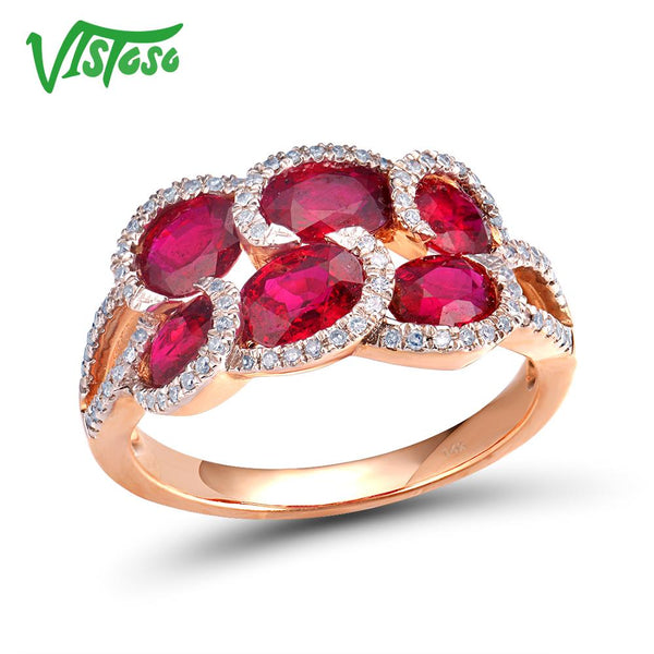 VISTOSO 14K 585 Rose Gold Fancy Ruby Glittering Diamond Ring For Women Wedding Engagement Anniverary Trendy Luxury Fine Jewelry