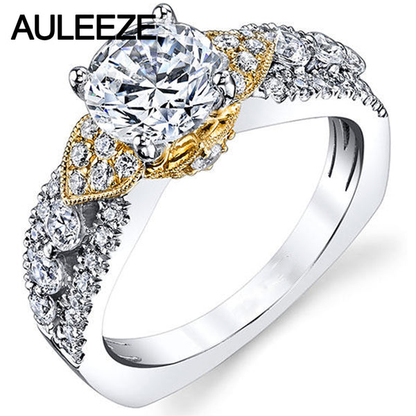 Vintage Crown Floral 14K Two Tone Gold Engagement Wedding Rings For Women 1 Carat Moissanites Ring Lab Grown Diamond Jewelry