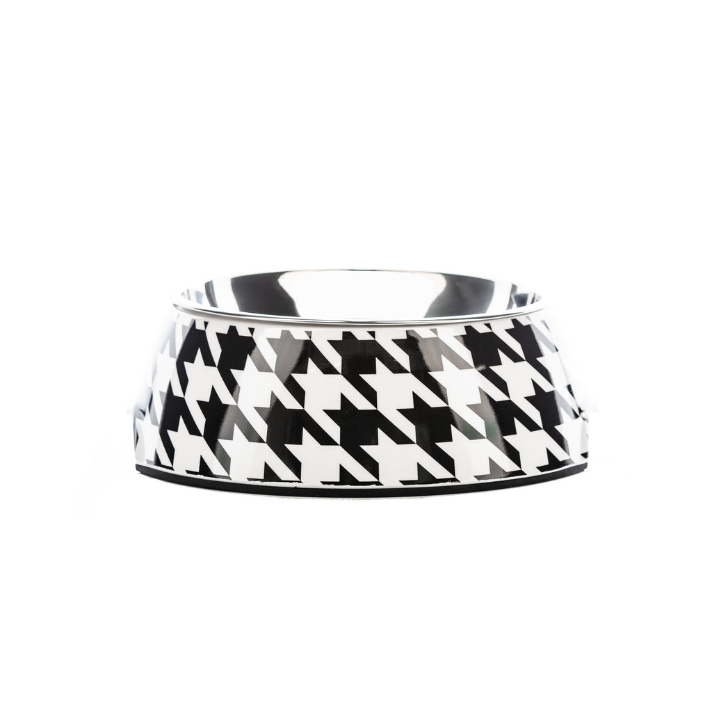 Vintage Black Houndz Dog Bowl | Houndztooth
