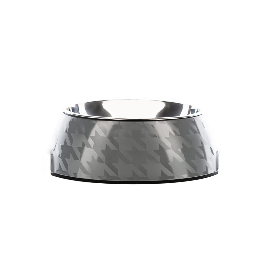 Chic Silver Houndz Dog Bowl | Houndztooth