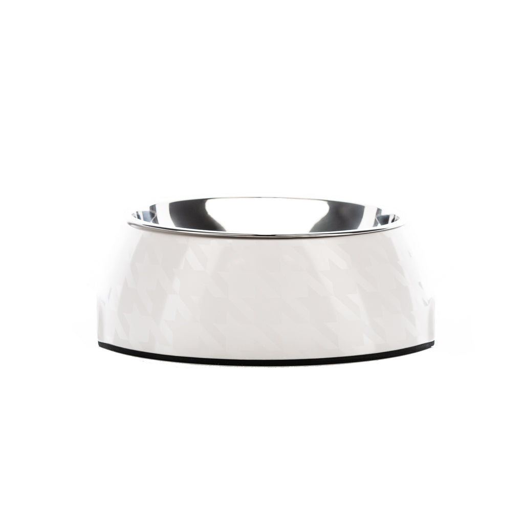 Chic White Houndz Dog Bowl | Houndztooth