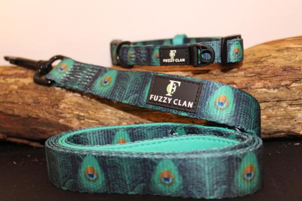 Prancing Peacock Collar and Lead Combo | Fuzzy Clan