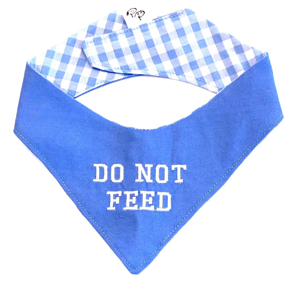 Blue - Do Not Feed - Specialty Dog Bandana | Pet Pouch