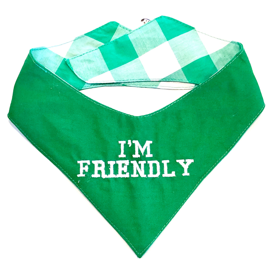 Green - Friendly - Specialty Dog Bandana | Pet Pouch
