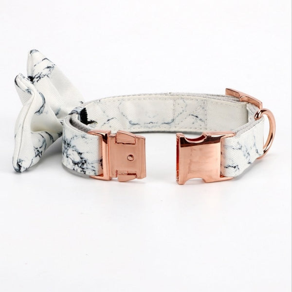 Marble Bow Collar | BK Boutique Pets