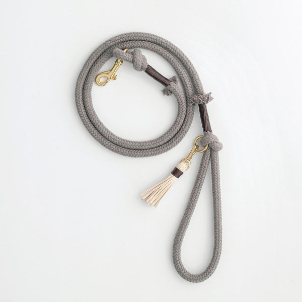 Stone Grey Organic Cotton Rope Dog Leash | Animals in Charge