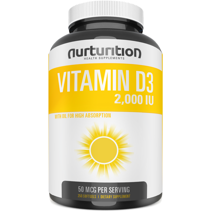 Vitamin D 2000 - Highly Bioavailable Softgels with 50mcg (2000 IU) D3 - May help to improve your mood - Formulated to support your bone and immune health - Nurturition