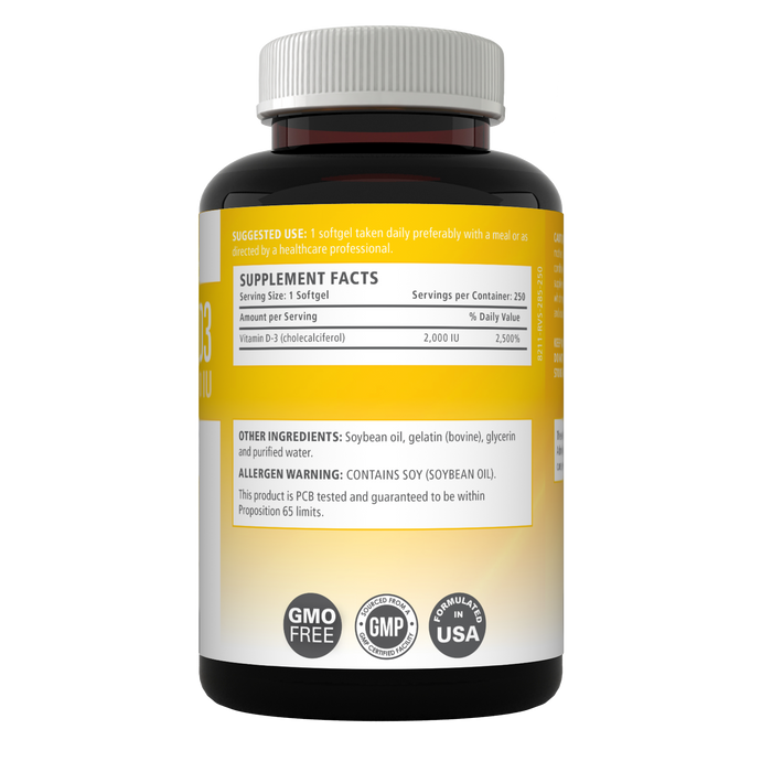 Vitamin D3 highly Bioavailable Softgels with 50mcg - 2000 IU (250 Softgels) D3 - GMO Free & Made in the USA