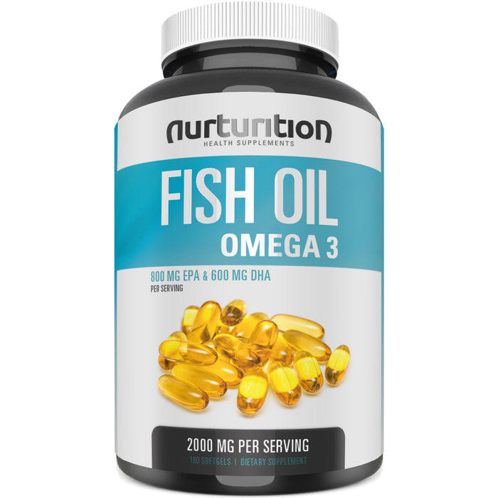 Purified Fish Oil 2000mg - With 800mg EPA and 600mg DHA - Omega 3 to Support an Active Lifestyle - Helps to Get Better Focus - Formulated to Support Your Blood and Heart Health - Nurturition