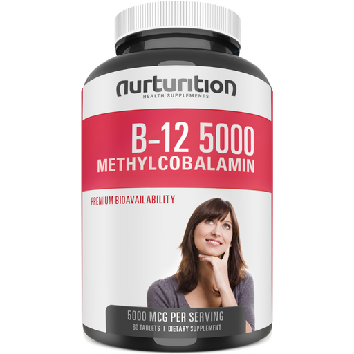 Vitamin B12 5000 - 60 B12 pills per bottle (Methylcobalamin B12) - Best Vitamin B12 supplement - Non-GMO B 12 - Helps to release energy from food - Formulated to support a better focus - Composed to help protect your heart and nervous system - Nurturition
