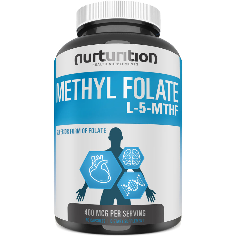 Methyl Folate 400 mcg - 90 Capsules - Vitamin B9 Supplement - Methylfolate L5-MTHF - Optimized and Most Active Form of Folate